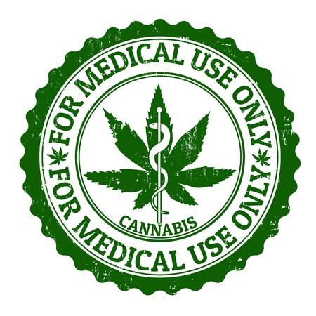 drogadiccion: La marihuana medicinal grunge sello de goma, ilustración vectorial