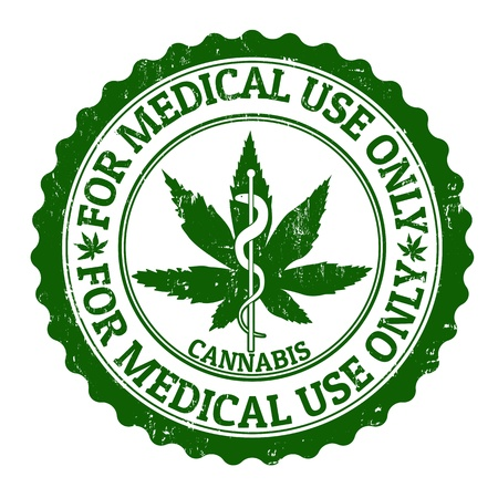 weeds: Medical marijuana grunge rubber stamp, vector illustration