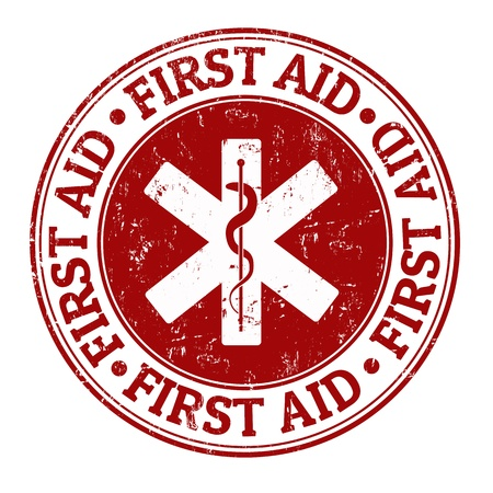 pharmacy equipment: First aid grunge rubber stamp on white, vector illustration