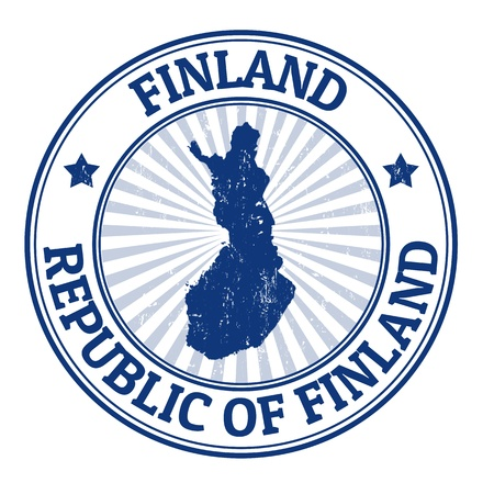 finland: Grunge rubber stamp with the name and map of Finland, vector illustration Illustration