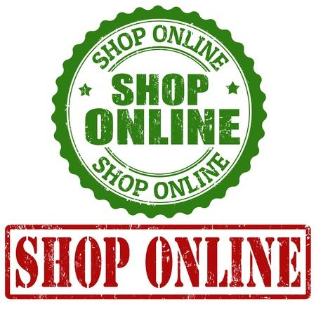 Shop Online grunge rubber stamps on white, vector illustration Stock Vector - 22068917