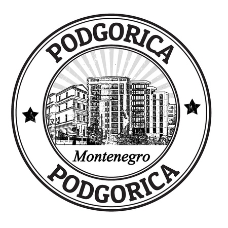 Black grunge rubber stamp with the name of Podgorica the capital of Monenegro written inside Illustration