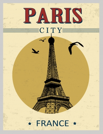 Eiffel Tower tower from Paris in vitage style poster, vector illustration Stock Vector - 22068921