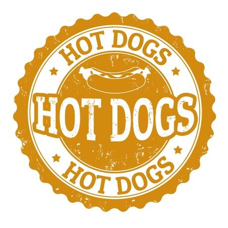 perro caliente: Hot Dog signo de la vendimia en el fondo blanco, ilustraci�n vectorial
