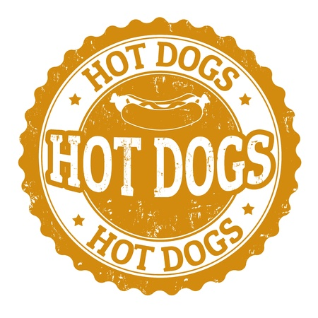 hot dog: Hot Dog vintage sign on white background, vector illustration