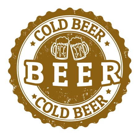 draft beer: Cold beer vintage sign on white background, vector illustration Illustration