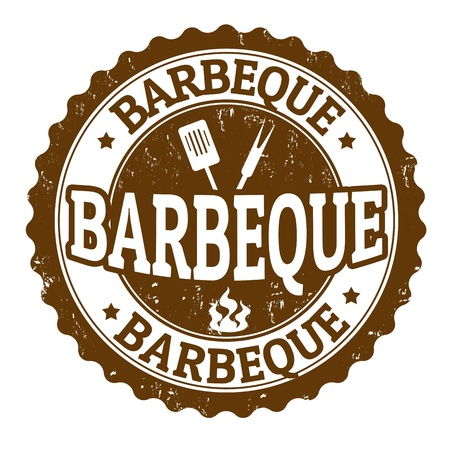 backyards: Barbeque vintage sign on white background, vector illustration Illustration