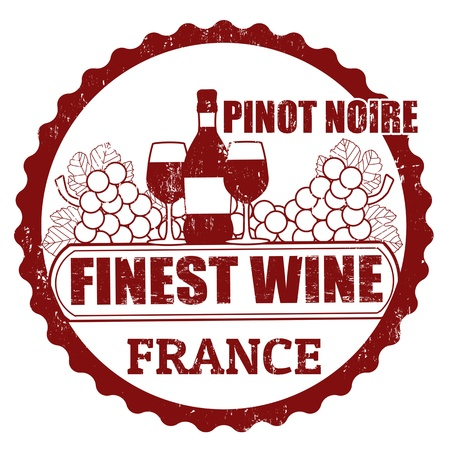 pinot noir:  Fine Wines, Pinot Noir, France grunge rubber stamp on white, vector illustration