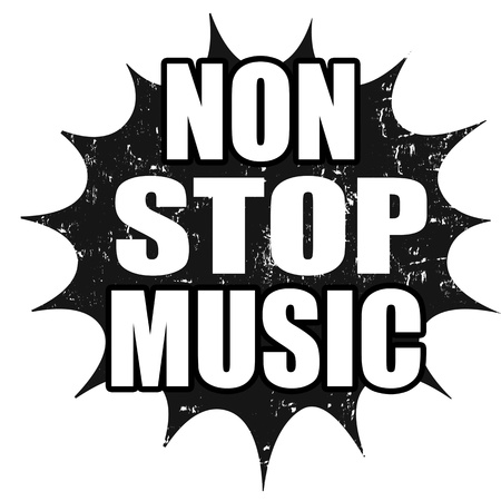 non: Black grunge rubber stamp with text non stop music written inside, vector illustration Illustration