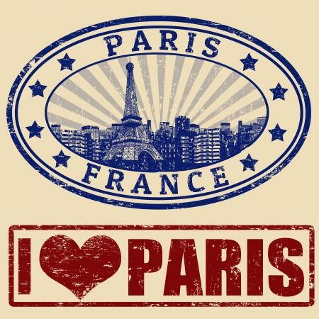 timbre voyage: Jeu de timbres en caoutchouc grunge avec Paris, illustration vectorielle Illustration