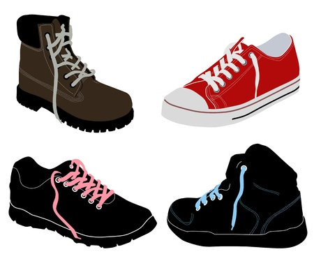 hiking shoes: Set of different shoes on white background, vector illustration