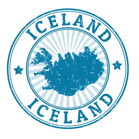 identifier: Grunge rubber stamp with the name and map of Iceland, vector illustration