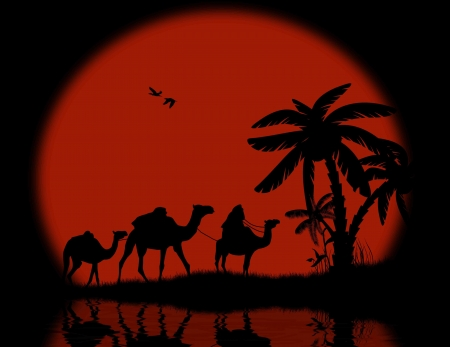 nile river: Bedouin camel caravan with full moon and reflexion on water, vector illustration