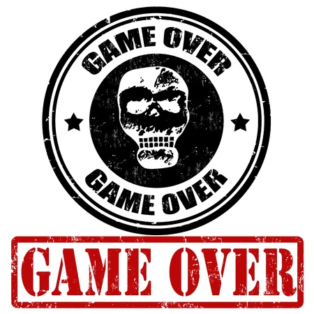 game over: Game over grunge rubber stamps on white, vector illustration