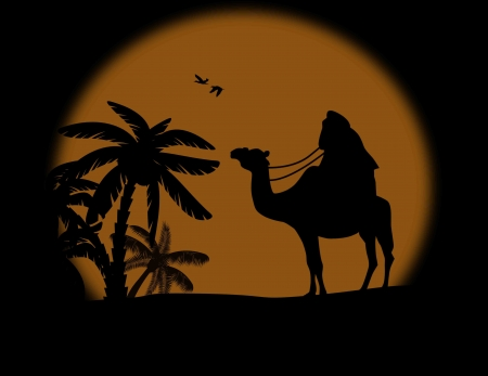 Sunset landscape vector: Bedouin on camel in wild africa landscape on sunset, vector illustration Hình minh hoạ