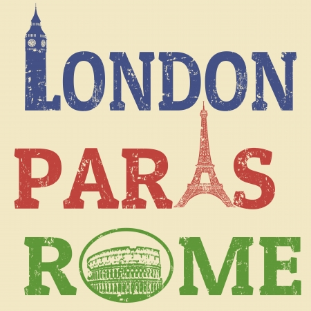 roma: London, Paris and Roma grunge stamps, famous landmarks Big Ben, Eiffel Tower and Colosseum Illustration