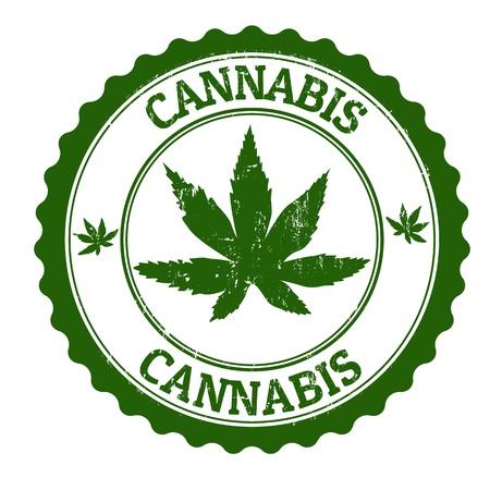 habits: Cannabis grunge rubber stamp, vector illustration Illustration
