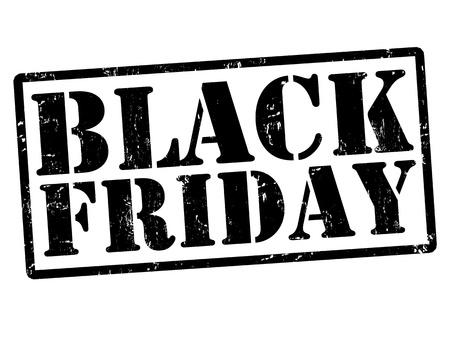 Black friday grunge stempels op wit, vector illustratie Stock Illustratie