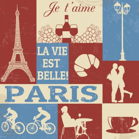 Retro Style Poster With Paris Symbols, vector illustration Vector