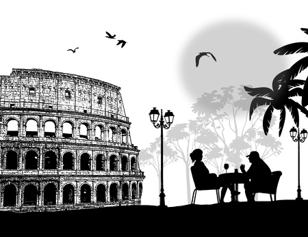Couple silhouette in cafe in front of Colosseum in Rome , vector illustration Vector