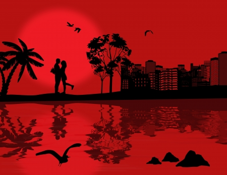 Romantic couple silhouette embrace over red sunset on cityscape with reflection on water, vector illustration Vector