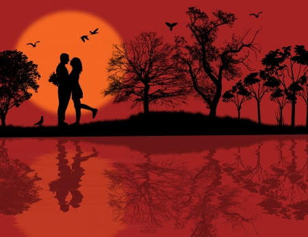true love: Romantic couple silhouette embrace over red sunset on a park, vector illustration