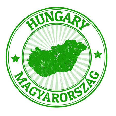 magyar: Grunge rubber stamp with the name and map of Hungary, vector illustration Illustration