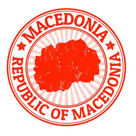 macedonia: Grunge rubber stamp with the name and map of Macedonia, vector illustration