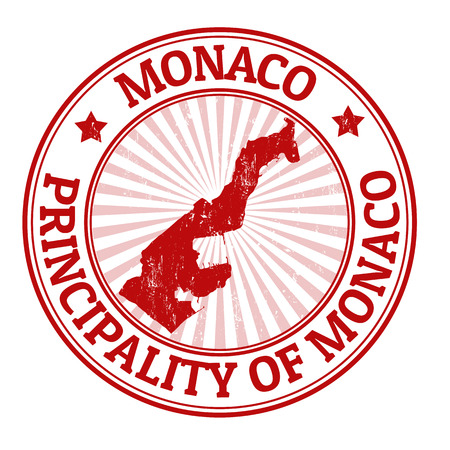 passport stamp: Grunge rubber stamp with the name and map of Monaco, vector illustration