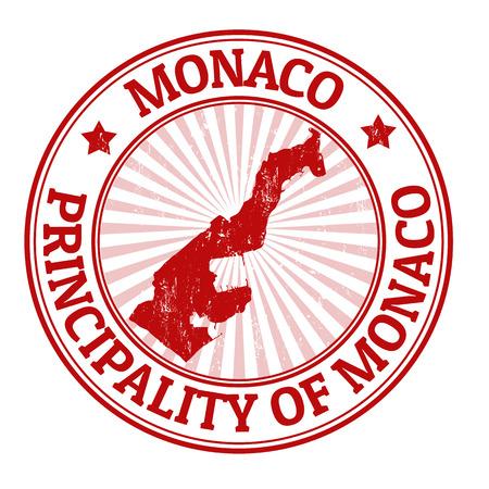 stempel reisepass: Grunge Stempel mit dem Namen und der Karte von Monaco, Vektor-Illustration