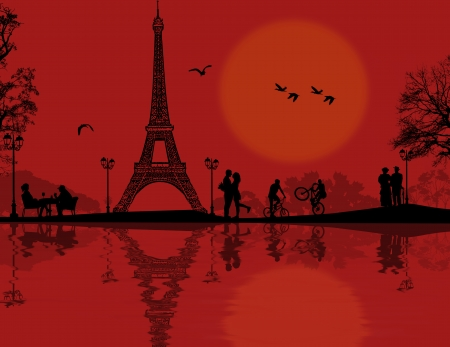 Paris in love on beautiful red sunst, vector illustration Vector