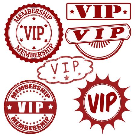 vip symbol: Set of VIP grunge rubber stamps, vector illustration