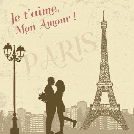 Retro Parijs grunge poster met liefhebbers en stad scape, vectorillustratie Stock Illustratie