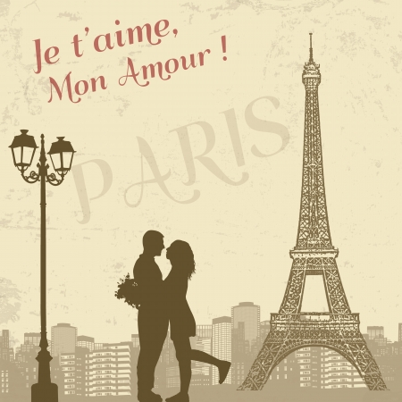 vintage postcard: Retro Paris grunge poster with lovers and city scape, vector illustration