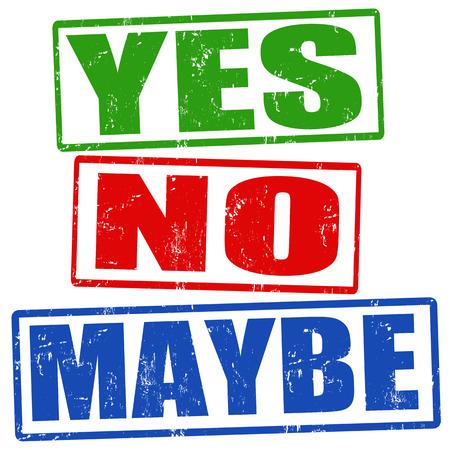 Ja, nee en misschien grunge stempels, vector illustratie Stock Illustratie