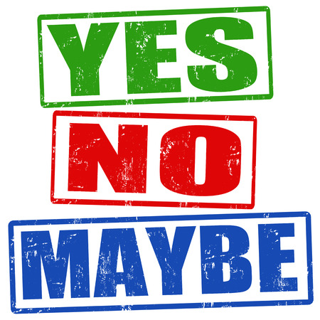 Yes, no and maybe grunge rubber stamps, vector illustration Ilustrace