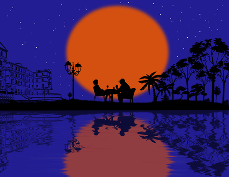 coffee tree: Couple silhouette in cafe on beautiful landscape , vector illustration
