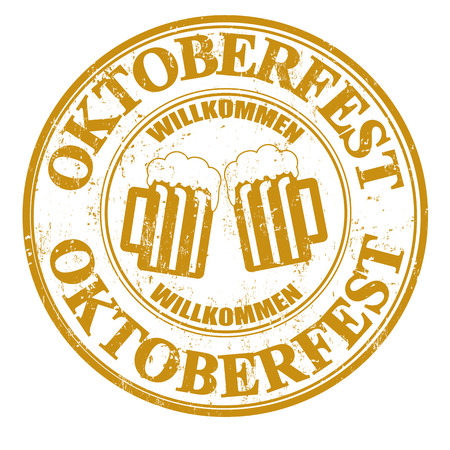 fest: Grunge rubber stamp with two beer mugs and the text Oktoberfest written inside, vector illustration