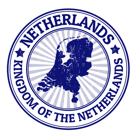 netherlands: Grunge rubber stamp with the name and map of Netherland, vector illustration