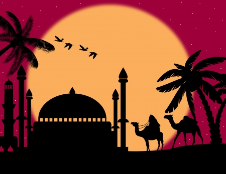 Abstract colorful background with bedouin riding camel during the red night under full moon, vector illustration Vector