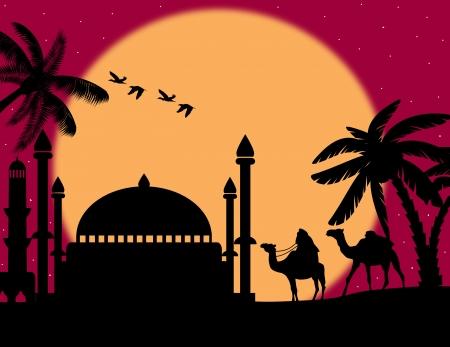 Fondo colorido abstracto con beduino montado en camello durante la noche roja bajo la luna llena, ilustración vectorial