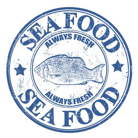 fischerei: Blauer grunge Stempel mit Fisch und Meeresfrüchten im Text geschrieben innen, Vektor-Illustration