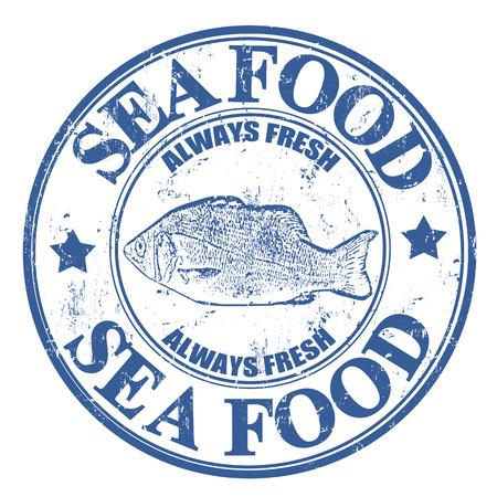 fishery: Blue grunge rubber stamp with fish and the text sea food written inside, vector illustration Illustration