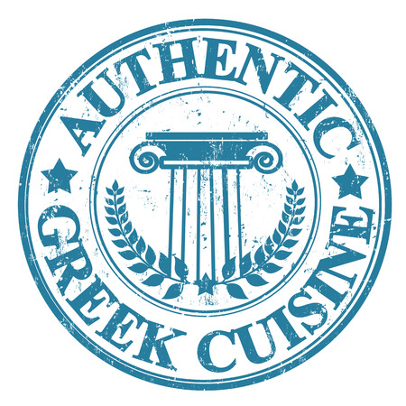 greek cuisine: Blue grunge rubber stamp with Greek elements and the text  Authentic Greek Cuisine written inside, vector illustration Illustration
