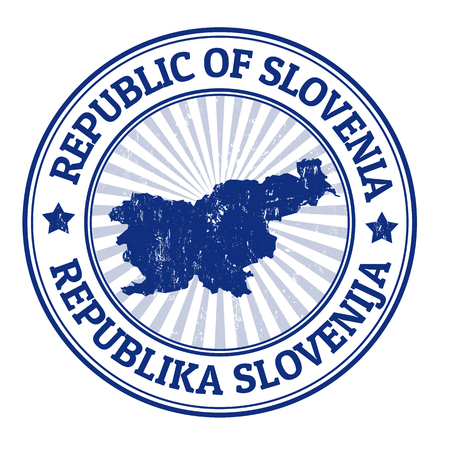 slovenia: Grunge rubber stamp with the name and map of Slovenia, vector illustration Illustration
