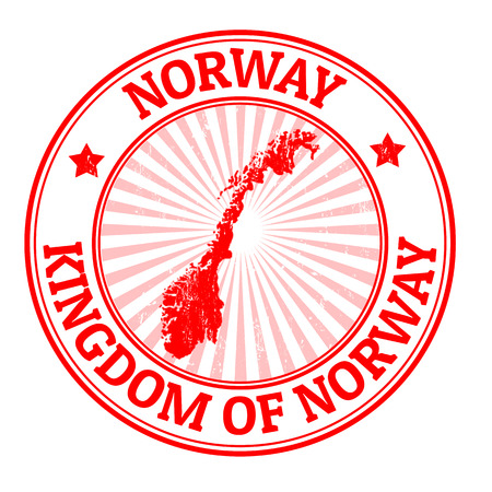 Grunge rubber stamp with the name and map of Norway, vector illustration Vector