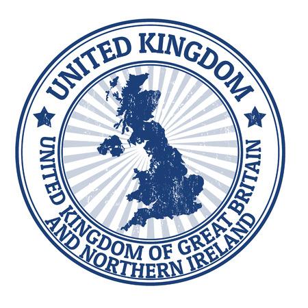 Grunge Stempel mit dem Namen und der Karte des Vereinigten Königreichs, Vektor-Illustration Standard-Bild - 22200449
