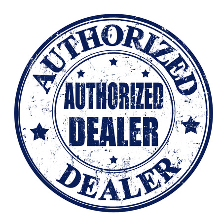 authorized: Black grunge rubber stamp with the text authorized dealer written inside the stamp