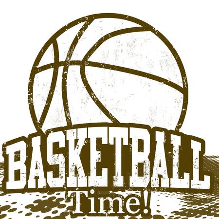 baloncesto: Baloncesto Tiempo cartel grunge sobre fondo blanco, ilustraci�n vectorial