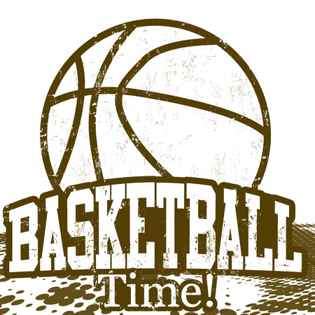 Basketball Time grunge poster on white, vector illustration Vector